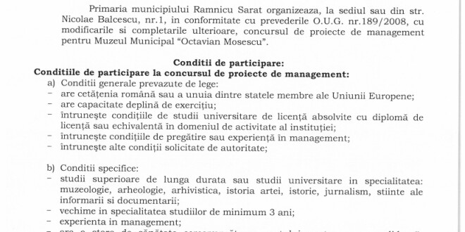 """Anunț Concurs de proiecte de management pentru Muzeul Municipal """"Octavian Moșescu"""""""